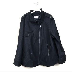 Soft surroundings black winter coat 2x